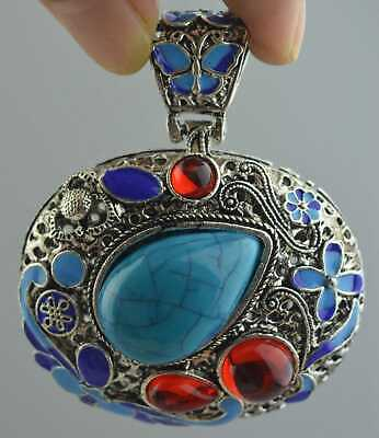 Collection Handwork Decor Miao Silver Carv Totem Inlay Agate Usable pendant