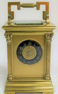 Antique French 8 Day Brass & Blue Enamel Masked Dial Timepiece Carriage Clock