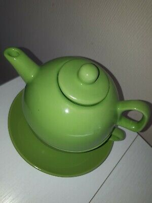 Tea For One Green Teapot Cup Saucer