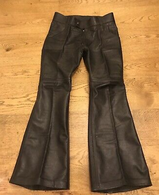 Vintage 1970s Mens or unisex? Leather Bell Bottom Flare Trousers NAVY BLUE
