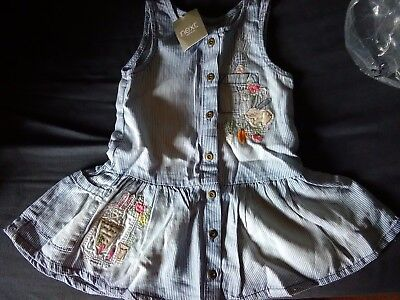 Next Baby Girls Denim Bunny Rabbit Appliqué Dress 12-18 Months Garden Theme