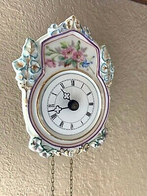 Antique Ceramic Jockele Black Forest Clock Germany
