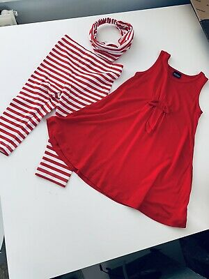 New Girls Red Christmas Outfit Age 4 Years Candy Cane Leggings & Dress Top