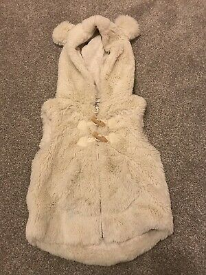 Baby Girls Next Cream Ecru Fur Gillet Body warmer Hood 12-18 Months