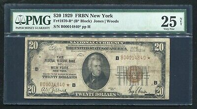 Fr.1870-B* 1929 $20 *Star* Frbn Federal Reserve Bank Note New York, Ny Pmg Vf-25