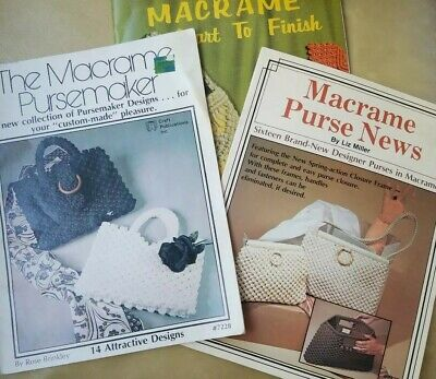 3 Vintage MACRAME Pattern Books PURSES Bags CLUTCH Eyeglass Case