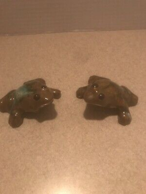 Vintage Anatomically Correct Frogs Green Glazed Ceramic Naughty Figurines MCM