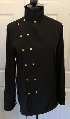 D Free Black Chef Jacket, Long Sleeve, Size Large, Gold Buttons Time to Indulge