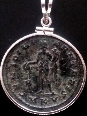 Galerius Large 27mm Authentic Ancient Roman Coin Sterling Silver Pendant Charm 2