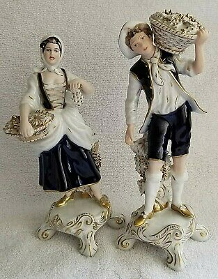 Royal Dux  Bohemia Pair of Porcelain Figurines Cobalt blue Grape PIckers