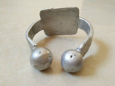 Rare Extremely Ancient Viking Bracelet Vintage Silver Color Artifact Authentic