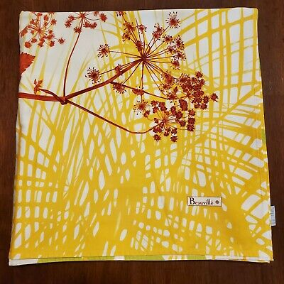 Beauville Linens Tablecloth Square 64×64 Yellow White Floral Leaf Cotton France