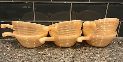 6 Vintage Fire King Oven Ware Peach Lustre Bee Hive Soup Chili Bowls + Handles