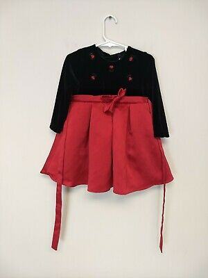 Baby Girl Rare Editions Black Red Flower Dress 24 Months