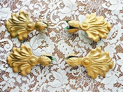 4 Two Pair Large Antique Cast Iron Ornate Gold Curtain Rod Ends Art Nouveau 5.5""