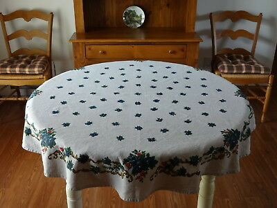 """54¼""""x52½"""" Cotton/Linen Floral Blue Roses/Red Poppies Tablecloth Made in Germany"""