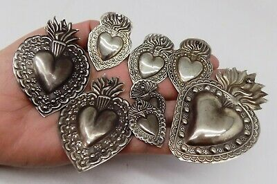 ANTIQUE LOT OLD 8 Sacred Heart Jesus Ex Voto MIRACLE MILAGRO SILVERED J-8