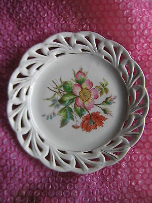 Antique  Plate, Austrian  Hand Painted With Pierced Rim With Gold Edging