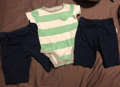 Baby Boy Lot Of Newborn Clothing 2 Pairs Of Navy Pants & One Carters Bodysuit