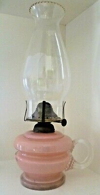 Beautiful antique  pink  Glass Finger Lamp   1900s