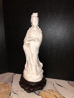 Antique Kwan Yin Blanc De Chine Figurine On Wood Carved Stand. Beautiful Piece