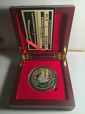 """2016 THE PROSPECTOR 43mm """"SILVER STUNNER"""" TOKEN/COIN, Wood Display Box C.O.A."""