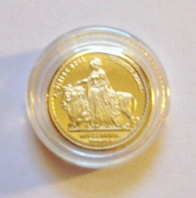 "Awesome ""Una and Lion"" Mini Coin Finished in 24 Karat Gold a"