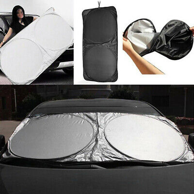 Car Sun Shade Front Interior Window Visor Reflex Spring Loaded Large Two Pack