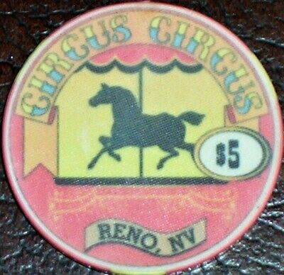 Old $5 CIRCUS CIRCUS Casino Poker Chip Vintage Antique Chipco Mold Reno NV 1995