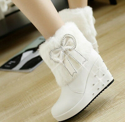 Hot Womens Girls Faux Fur Ankle Riding Boots High Wedge Platform Bow Knot Shoes