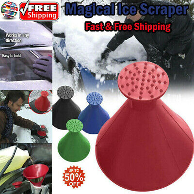 Magical Car Windshield Ice Snow Remover Scraper Tool Cone Shaped Round Funnel NB