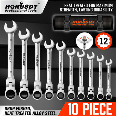 10Pc Flexible Head Ratchet Spanner Set Metric Wrench With Carry Pouch Auto Tool