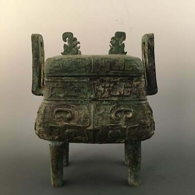 Chinese Shang Bronze Ritual Food Vessel Square Ding.