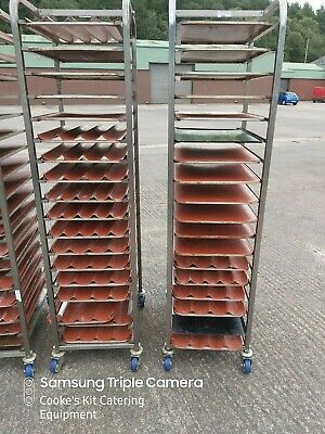Stainless Steel Mobile Bakers Trolley With 20 Non Stick 60 X 40 Baguette Trays