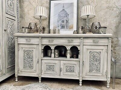 Large Antique Carved Solid Wood Sideboard Dresser Galleried