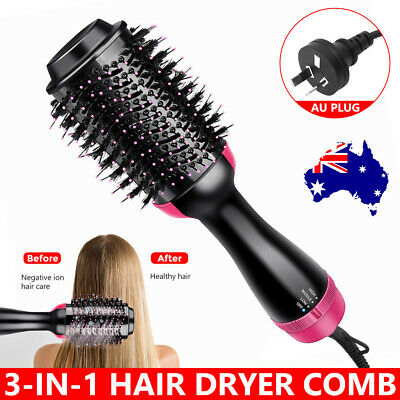 3-in-1 Hot Air Style Curler Hair Dryer Styling Roll Hair Brush Comb Hairdryer AU