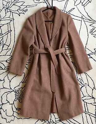 Vintage 1970's Wool Mix Tan Caramel Debenhams Coat Trench Style Belted 10 12