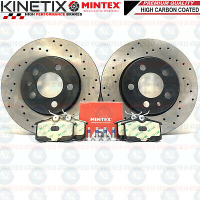 For Audi Seat Skoda VW Rear Drilled Kinetix Brake Discs Mintex Pads 256mm