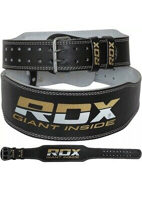 "RDX 4"" Leather Weight Lifting Belt Fitness Strap Training Power Back Support L"