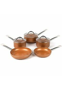 Russell Hobbs 8 Piece Copper Non Stick Induction Ceramic  Saucepan Set Frying