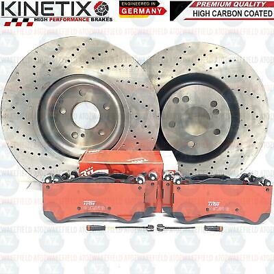 FOR MERCEDES E63 AMG FRONT DRILLED HIGH CARBON BRAKE DISCS TRW PADS WIRES 360mm