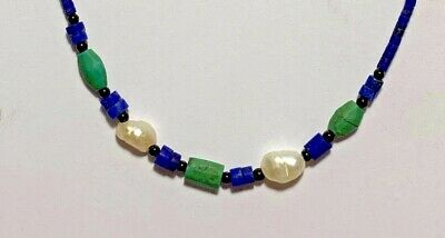 Antiques Amazing  Lapis Lazuli Beads Necklace With White Freshwater Pearls Mix