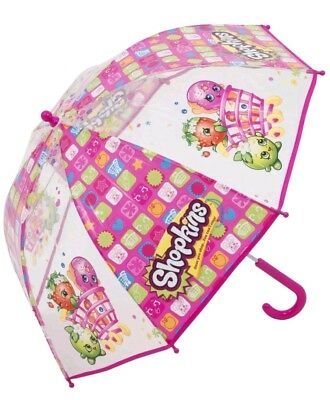 Official Shopkins Bubble Umbrella - Kids Girls Pink See Through Transparent