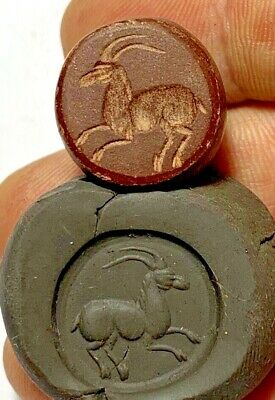 INTACT KUSHANS STONE PENDANT  SEAL WITH ANIMAL CIRCA 100 AD 12.1gr 19mm