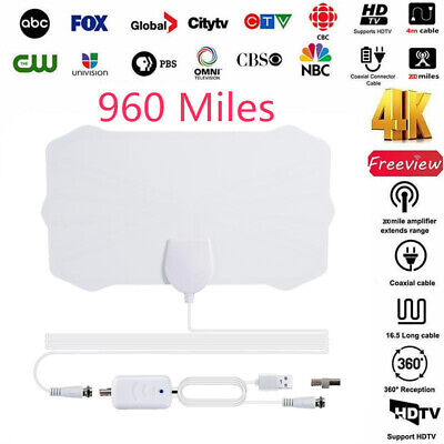 960 Mile Range Digital Antenna With Amplifier TV HD 1080P HDTV 4K Skywire Indoor