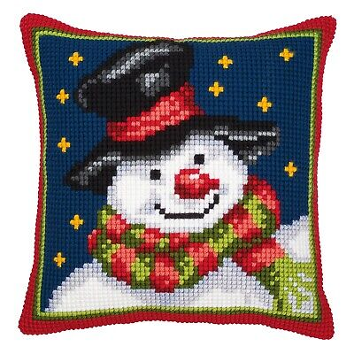 Snowman - Large Holed Printed Canvas Tapestry/Chunky Cross Stitch Cushion Kit