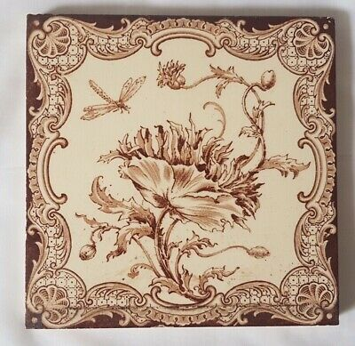 Flower & Dragon Fly Design 6 Inch 19Th Century Tile. 12 Available