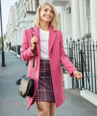 Ex Marks & Spencer Holly Willoughby's  Wool Blend Single Breasted Coat RRP£69