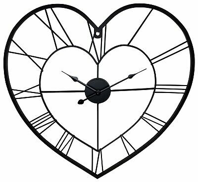Large Skeleton Heart Shaped Wall Clock 58cm Roman Numeral Love Home Numerals