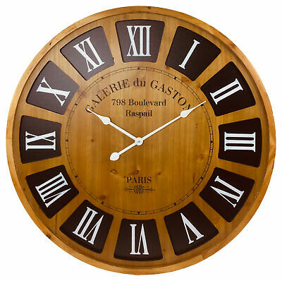 Extra Large Roman Numeral Wall Clock 80cm Wooden Numerals Open Face Vintage Styl
